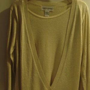 Cathy Daniels Gold Mock 2 pc sweater small